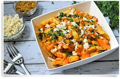 Try this fresh tasting #modifry Greek Fries recipe made with delicious Greek seasoning, Feta and parsley. Opa!
