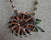 Vintage Statement Necklace,Vintage Brooch,Vintage Earrings,Vintage Beads,Black,Repurposed,Upcycled,Reclaimed,Vintage Assemblage, Flower / 21