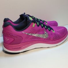 NEW-Nike LUNARGLIDE 5 w Swarovski Crystals Size 11 Brand new, Nike running sneakers in perfect condition, never worn.  100% authentic ALWAYS! Both outer Nike Swoosh is hand embellished with Swarovski crystal rhinestones.  The inner swoosh is not embellished.  I use the highest quality adhesive so these brilliant crystals are on for good.   Nike Pink LUNARGLIDE 5 women's size 11 (also have 11.5) Please refer to Nike for exact sizing information as many styles may differ slightly.  From my own…