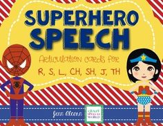 Superhero Speech targets 7 phonemes for speech therapy... /r, s, l, ch, sh, j, th/ including /r, s, l/ blends!  Use these cards year round for the Superhero fans in your speech room!  Drill, play the included board game or use as a card game!Included in the download:R words - 11 initial, 12 medial, 12 final, 12 blends S words - 11 initial, 12 medial, 12 final, 12 blendsL words - 11 initial, 12 medial, 12 final, 12 blends CH words - 11 initial, 12 medial, 12 final SH words - 11 initial, 12…