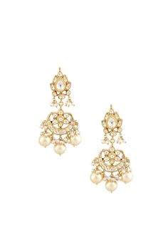 A pair of silver, gold plated, kundan stone studs and chaand earrings with varied pearl drops hangings.INR 7,500.00