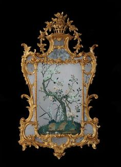 A GEORGE III REVERSE MIRROR PAINTING IN A GILTWOOD FRAME ATTRIBUTED TO JOHN LINNELL.