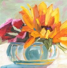 "Daily Paintworks - ""Sunflower in Bowl"" - Original Fine Art for Sale - © Rebecca Martin"