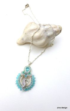 Seahorse Soutache Necklace Blue Soutache von ZinaDesignJewelry