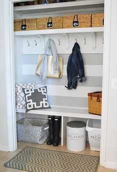 41 Ideas Front Hallway Closet Organization Drop Zone For 2019 Mudroom, Closet Remodel, Front Closet, Closet Makeover, Home, Mudroom Closet, Entryway, Entry Closet, Renters Decorating