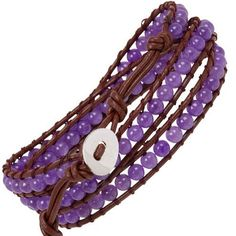 """Heirloom Finds Amethyst Beads on Triple Wrap Leather Bracelet Heirloom Finds. $21.99. Perfect for a Man or Woman. Bracelet will wrap around 3 times. Wear alone or layer with other bracelets. Arrives Gift Boxed!. Bracelet is adjustable with total length of 23"""".. Save 60%!"""