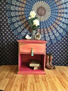 Hey, I found this really awesome Etsy listing at https://www.etsy.com/listing/483741075/magenta-nightstand-with-tassel-knob