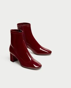 ZARA - WOMAN - HIGH HEEL FAUX PATENT ANKLE BOOTS