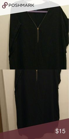 Black Front Zipper Dress Black loose fitting black dress. Size 2X and 40 inches long. rue + Dresses