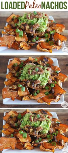 Loaded Paleo Nachos  ok, so I'm not really into the paleo thing, but these actually look like they taste pretty good.