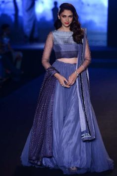 Actress Aditi Rao Hydari Gorgeous Appearance in Grey Color Net Plain Lehenga Half Saree Designs, Lehenga Designs, Bollywood Lehenga, Bollywood Fashion, Sabyasachi, Indian Dresses, Indian Outfits, Plain Lehenga, Beautiful Dresses