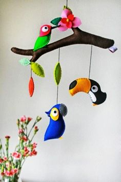 DIY felt parrots animal baby mobiles on Branches - kids crafts, homemade mobiles - Different styles Wall hanging mobile, do you love it? by Sarahy