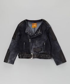 Take a look at this Black Denim Zip-Up Jacket - Toddler & Girls by Rock'n Style on #zulily today!