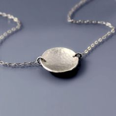 Small Hammered Silver Saucer Necklace // #lisahopkins