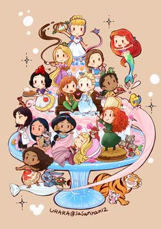 Cute Disney Drawings, Disney Princess Drawings, Princess Cartoon, Disney Princess Art, Disney Princess Pictures, Kawaii Disney, Chibi Disney, Disney And Dreamworks, Wallpaper Iphone Disney