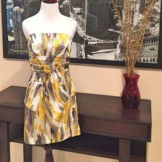 Modcloth Strapless Watercolor Print Dress