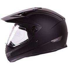 Dual Sport Off Road Motorcycle helmet Dirt E-Bike ATV D.O.T certified Black