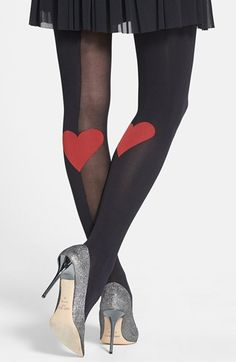 Not snoozing on these cuties, must have ASAP!  Pretty Polly 'Heart' Trompe l'Oeil Tights available at #Nordstrom Happy Valentine's day!