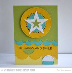 Totally Happy, Cross-Stitch Circle STAX Die-namics, Pierced Star STAX Die-namics, Stitchable Dot Circle STAX Die-namics, Stitched Scallop Edges Die-namics - Teri Anderson  #mftstamps