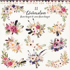 Watercolour tribe&flower DIY pack on Behance