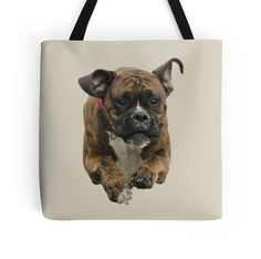 Boxer Tote Bag - Beautiful Boxer Dog is Flying through the Air  - Boxer Lovers • Also buy this artwork on bags, apparel, stickers, and more.