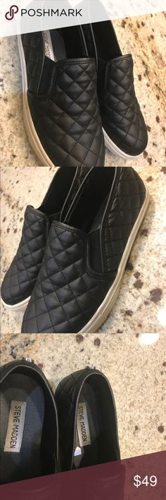Steve Madden sneaker Lush diamond quilting puts a fresh twist on the skater-inspired profile of a sporty slip-on.  Stay a step ahead in Steve Madden's trend-leading styles and easy-to-wear silhouettes. Inspired by rock and roll and fused with a jolt of urban edge, Madden creates products that are innovative, sometimes wild and always spot-on-chic. Synthetic upper/leather and synthetic lining/synthetic sole brand new with out box Steve Madden Shoes Sneakers