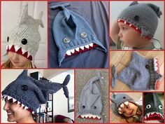 DIY Knit Shark Hat Free Pattern by Allison MacAlister ofknittingninja.com here.Photos from pattern and people on Ravelry who have knitted this popular hat here.