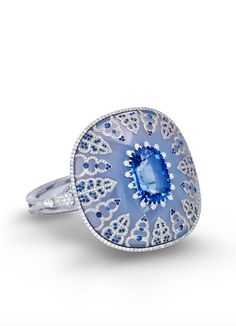 ring featuring a 26.26 ct. Ceylon cushion-shape sapphire inlaid in chalcedony