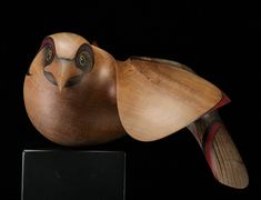 Medium: kauri, metal connections, painted fibre board MDF base. Size: 5.5 x 22 x 12 inches (H. 18 inches incl. base). Found in New Zealand, Australia and the South Pacific, the Kahu is New Zealand's largest predatory bird. A bird of the open country, they are highly intelligent, have superb eyesight, strong talons, and a vicious hooked beak.