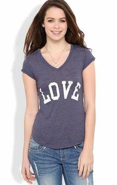 Deb Shops Short Sleeve Tee with #Love Screen $14.90