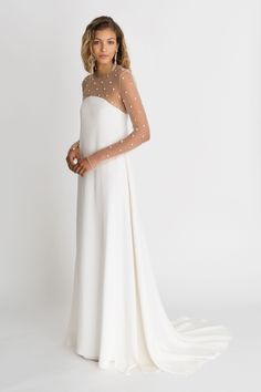 """Alexandra Grecco fall winter 2018 """"The Magic Hour"""" wedding dress 'Cohen' sheath over sheer long sleeve. 1 of Red Wedding Guest Dresses, Vintage Bridesmaid Dresses, Wedding Gowns With Sleeves, Long Sleeve Wedding, Bridal Dresses, Vintage Dresses, Wedding Dress Sheath, Unusual Wedding Dresses, Bridesmaid Gowns"""