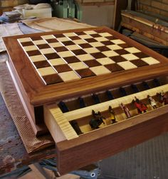 Chess Board, Walnut and Curly Maple.
