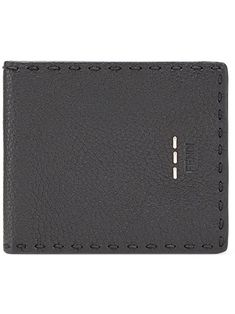 Fendi, Pebbled Leather, Calf Leather, Grey Leather, Leather Men, Italian Luxury Brands, Designer Wallets, Leather Texture, Logo Stamp