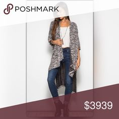 Last One (Small)! Black and White Midi Cardigan This sweater is going to be your new go-to!  Perfect with leggings, skinny jeans, and booties. The sweater has half sleeves and is made of 70% cotton and 30% rayon. NEW Boutique Sweaters Cardigans