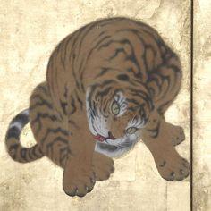 Maruyama Okyo, Tigers Crossing a River, a six-panel folding screen.