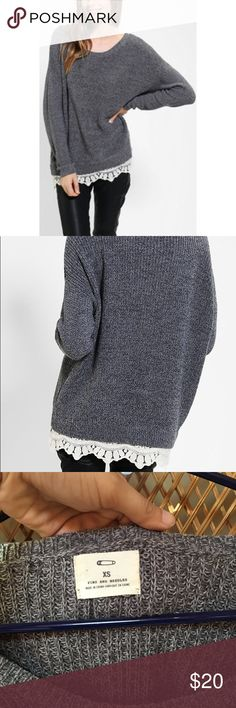 UO Lace Trim Sweater Pins and Needles vintage lace trimmed sweater in Gray. Sweater is an oversized XS, could fit a small comfortably. Excellent used condition. Perfect winter sweater! No snags or pilling. Urban Outfitters Sweaters