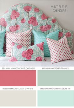In love with this color scheme for a little girls bedroom or home décor! Love the dark pink and light blue combo on the headboard and middle pillow! Caitlin Wilson Textiles: Tips Colour Schemes, Color Combos, Colour Palettes, Big Girl Rooms, Home And Deco, Color Pallets, Girls Bedroom, Bedrooms, Bedroom Ideas