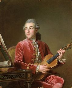 Portrait of a Gentleman with Violin, 18th century - Guillaume Voiriot (1712-1799)
