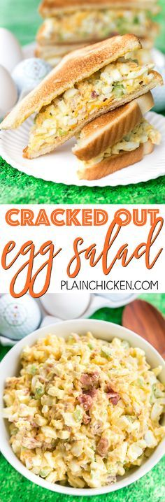 Cracked Out Egg Salad - OMG! Seriously delicious!!! Eggs, mayonnaise, Ranch mix, cheddar cheese, bacon, celery, vinegar and worcestershire. Can make ahead of time and refrigerate for later. I always make a double batch and it is gone in a flash! Everyone loves this easy egg salad recipe.