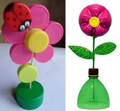 Bottle Cap Art, Plastic Bottle Crafts, Mothers Day Crafts For Kids, Diy For Kids, Craft Activities For Kids, Kids Crafts, Poppy Craft For Kids, Bottle Top Crafts, Paper Crafts Origami