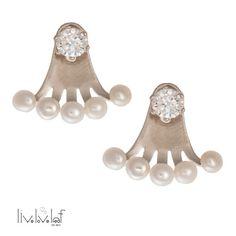 Silver cz Pearl Ear Jackets Ear jacket earrings by LiveLoveLeaf