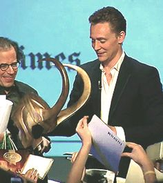 Tom Hiddleston with Loki's helmet. TimeTalks Madrid 2011 https://www.youtube.com/watch?v=zwSZEifT5Uw Gif-set: http://maryxglz.tumblr.com/post/153633225037/tom-hiddleston-with-lokis-helmet-timestalks