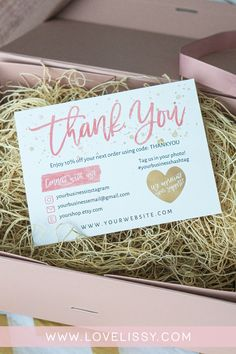 DIY Marketing Ideas for Etsy Sellers that want to take their Etsy Packaging to t. - DIY Marketing Ideas for Etsy Sellers that want to take their Etsy Packaging to the next level! Small Business Cards, Business Thank You Cards, Beauty Business Cards, Etsy Business Cards, Printable Thank You Cards, Thank You Card Template, Printable Labels, Thank You Customers, Thank You Card Design