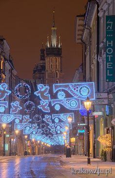 Christmas lights in Kraków, Poland. It's magical!!