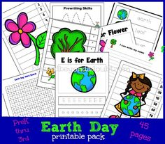 Free Earth Day Printable Pack for K through 3rd graders