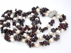 "Vintage Bohemian Garnet & Freshwater Pearl Bead Necklace 17"" Triple Strand 