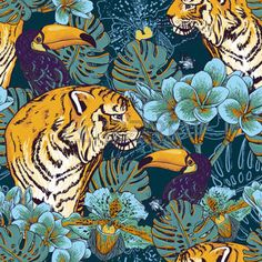 jungle: Tropical seamless background with exotic flowers and Toucan and Tiger…