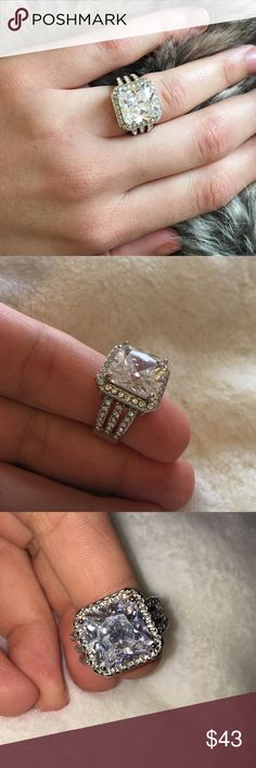 Sparkly cushion cut cz ring. (Never used) Beautifully sparkling ring! size 6 or 7 not 100% sure. It's a little tight on me there for I have never worn it. Jewelry Rings