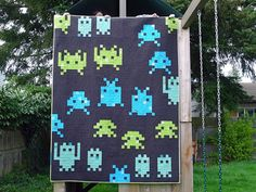 Elliot's Space Invaders Quilt seen on Oh, Fransson! blog