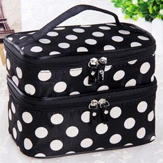 Women Make Up Bag Toiletry Holiday Travel Pouch Makeup Storage Double-deck Tools
